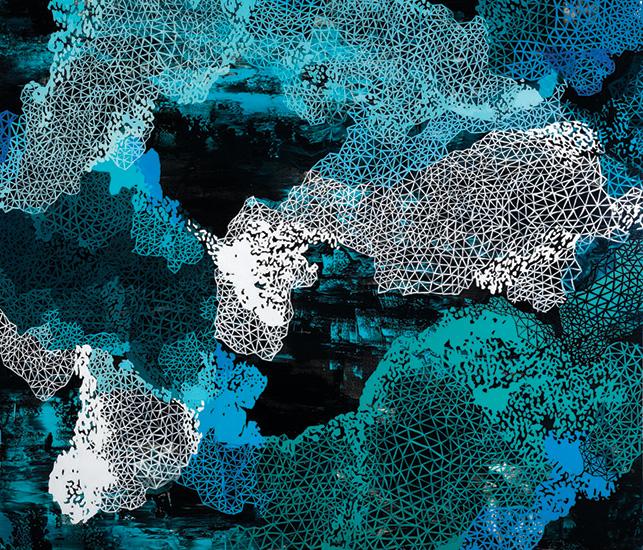 """Deep Rift, 80x94"""", acrylic on canvas"""