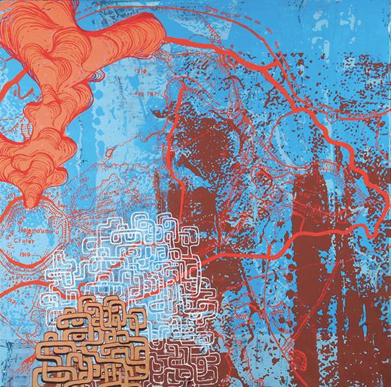 """blue hawaiian, acrylic on panel, 24x24"""""""