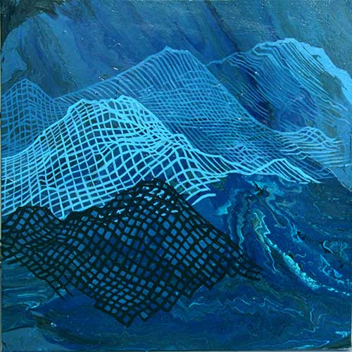 """Unexpected Seamounts, NW Pacific, 18x18"""", acrylic on canvas"""