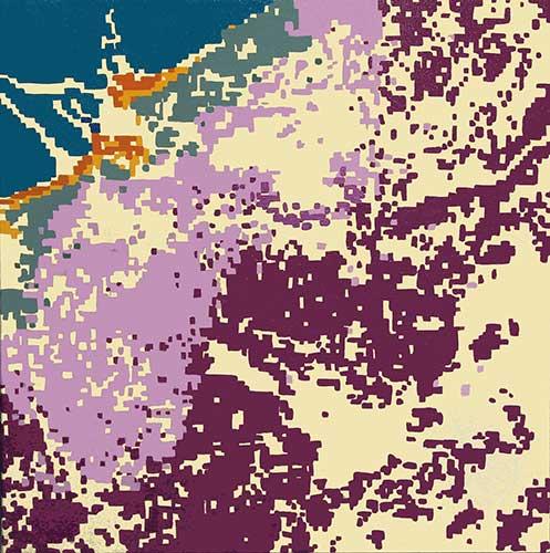 "Plume III (satellite data 6-2-16), 18x18"", acrylic on canvas"