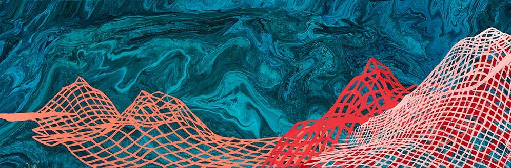 "Galapagos Seamounts 2, 10x30"", acrylic on canvas, 2015. Created at sea on board the Nautilus"