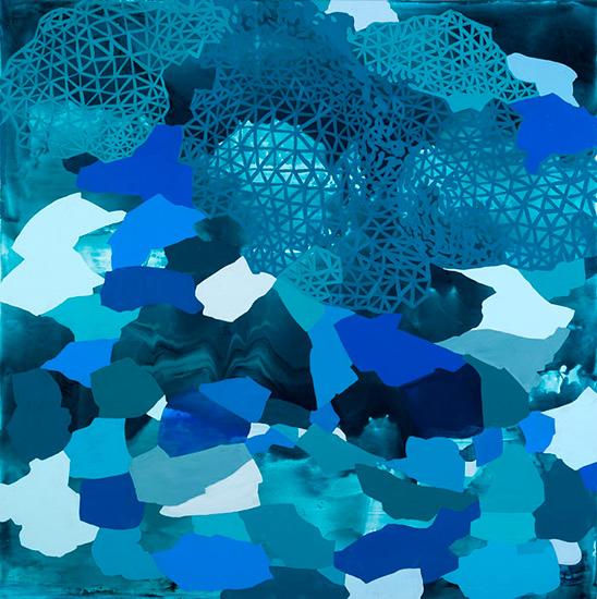 "galvanized love, 36x36"", acrylic on canvas"