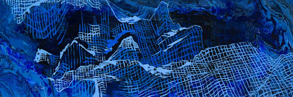 "Lazaro Cardena Canyon, 10x30"", acrylic on canvas, 2015. Created at sea on board the Nautilus"