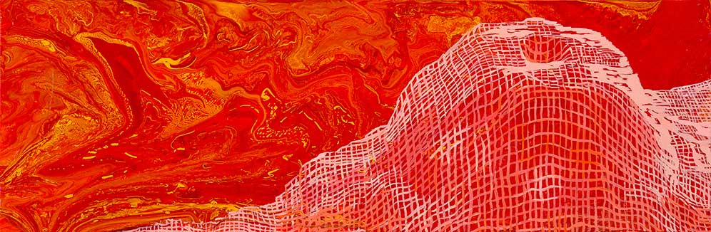 "Nicole's Caldera, 10x30"", acrylic on canvas, 2015. Created at sea on board the Nautilus"
