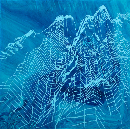 galapagos seamounts IV, acrylic on canvas, 18x18""