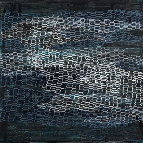 "connection & degradation, acrylic on canvas, 18x18"""