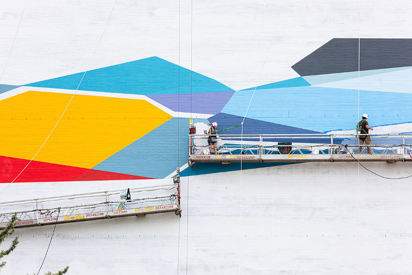 Artist team installing Rebecca Rustein's Convergence. Photo by Steve Weinik.