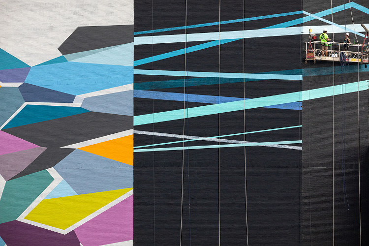 Convergence by Rebecca Rustein in-process, August 16, 2019. Photo by Steve Weinik.
