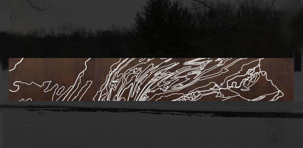 "Renderings for ""Ridge & Valley"", a 9' x 67' plasma-cut corten steel freestanding sculpture to be installed in August 2020."