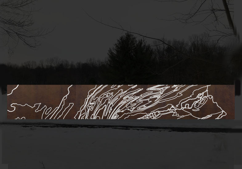 "Renderings for ""Ridge & Valley"", a 9' x 67' plasma-cut corten steel freestanding sculpture to be installed in August 2020."