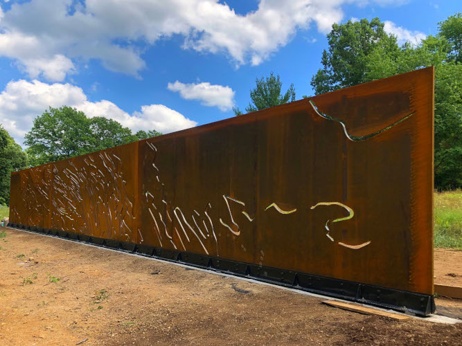 """Ridge & Valley"", a 9' x 67' plasma-cut corten steel 