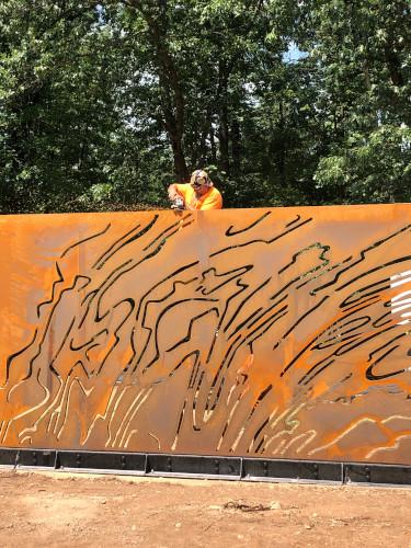 """Ridge & Valley"", a 9' x 67' plasma-cut corten steel | Bower Sculpture Park Install"